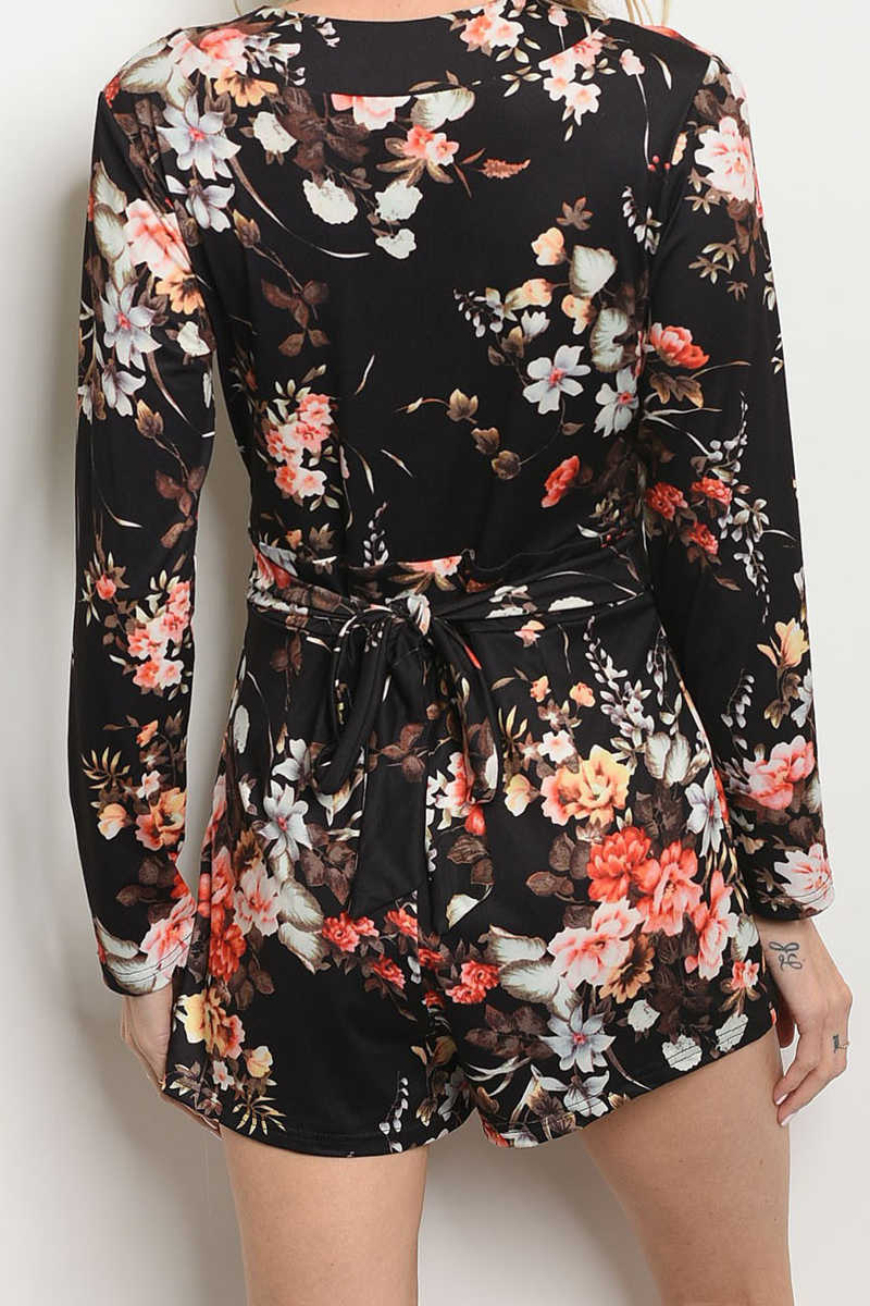 Once Upon An Outfit - Floral Wrap Romper Black