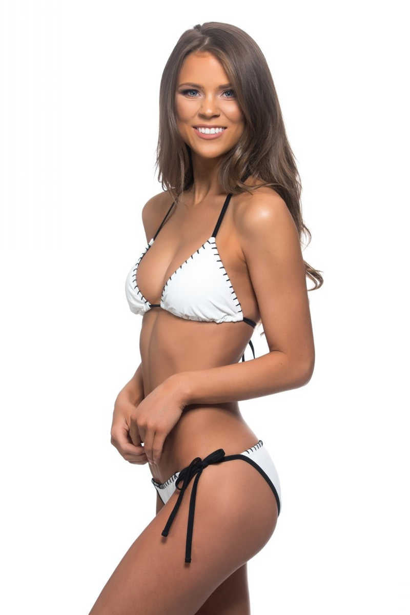 One Stitch Leads To Another - Black & White Two Piece Bikini