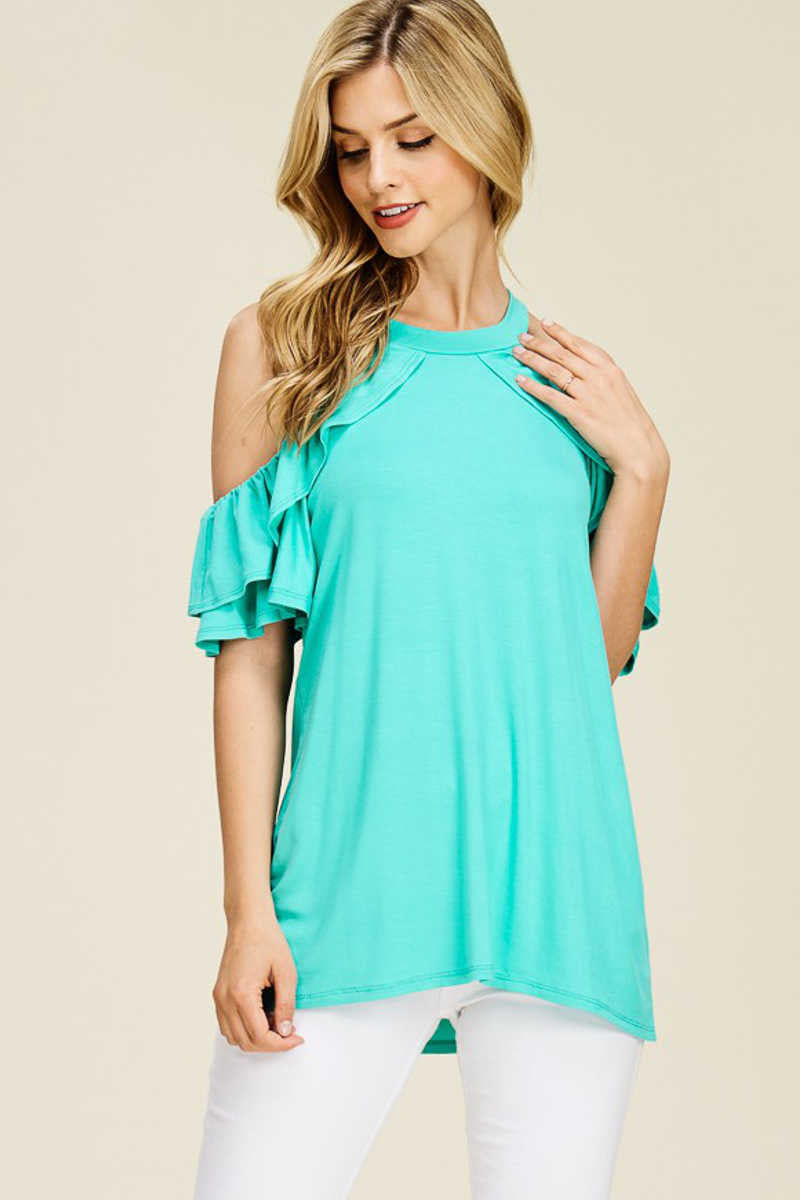 Paradise Found - Ruffle Sleeves Top Mint