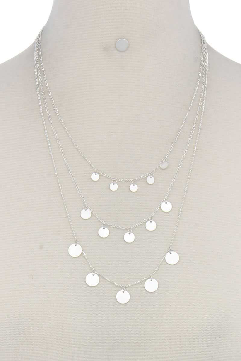 Rise 2 Shine - Layered Coin Necklace Silver
