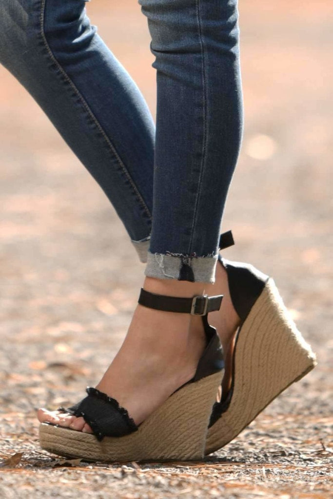 Shoe Me Luv! - Frayed Black Wedges
