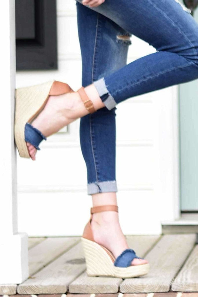 Shoe Me Luv! - Frayed Denim Wedges