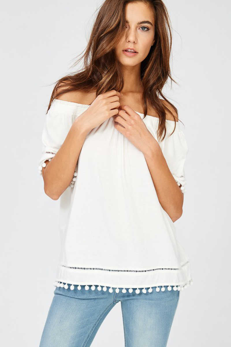 Shore 2 Shore - Off Shoulder Top Ivory