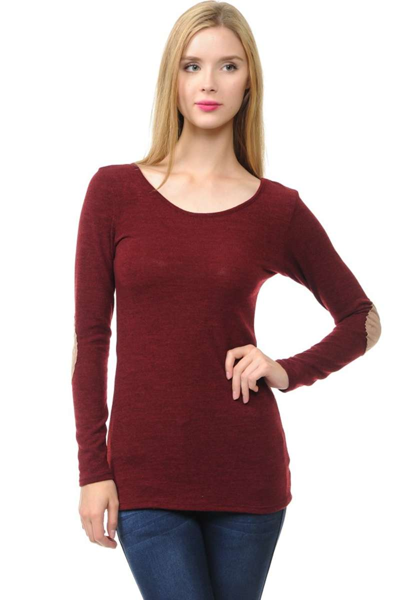 Wear We Meet - Solid Elbow Patch Top in Burgundy
