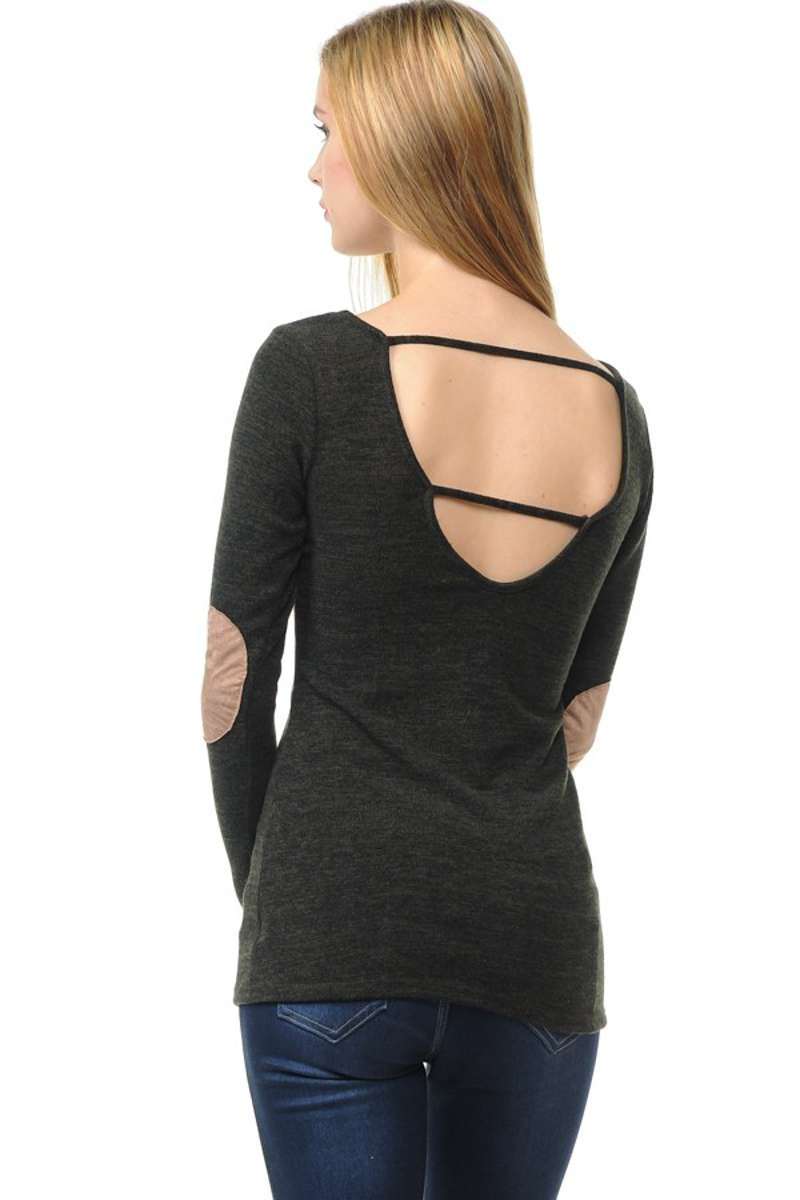Wear We Meet - Solid Elbow Patch Top in Charcoal