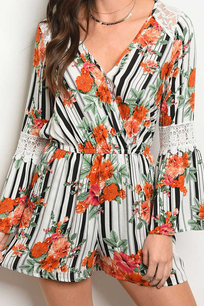 Storm the Room - Floral Romper White