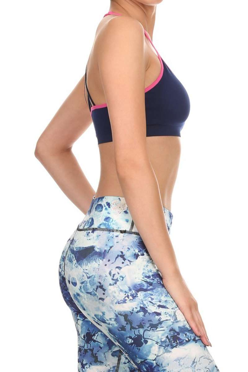 Poised & Perfect - Strappy Racerback Sports Bra Navy