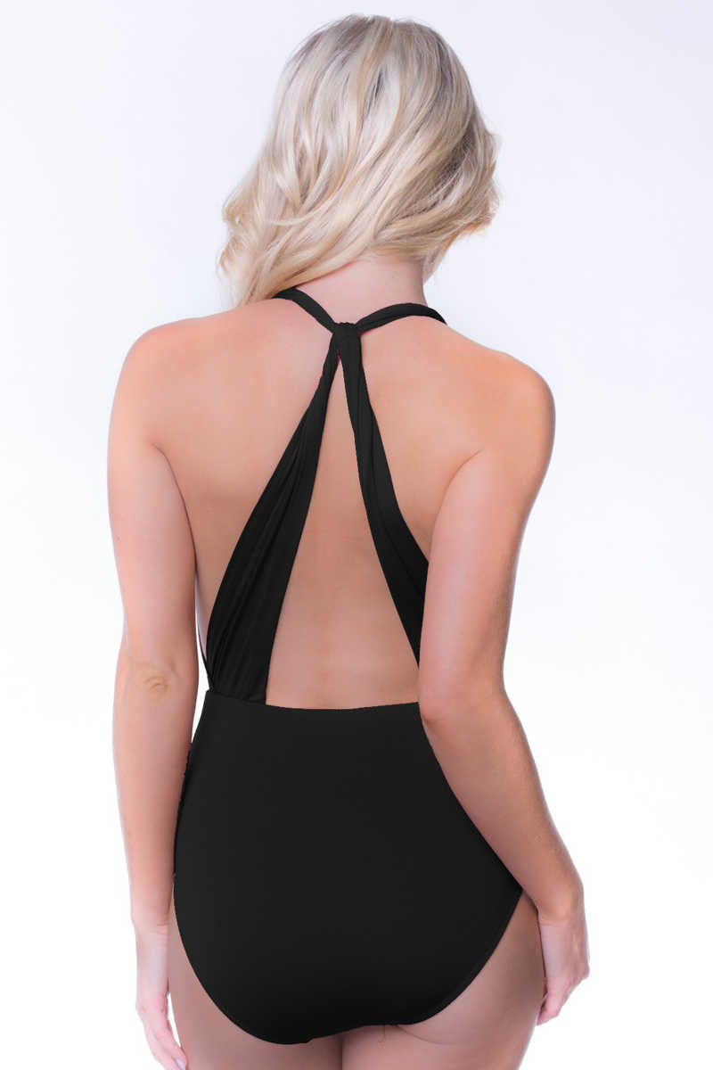 Sun Aura - Halter One Piece Swimsuit Black