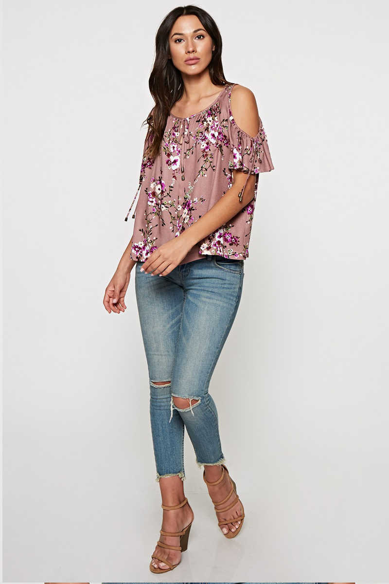 Sweet as Chic - Floral Cold Shoulder Top Lavender