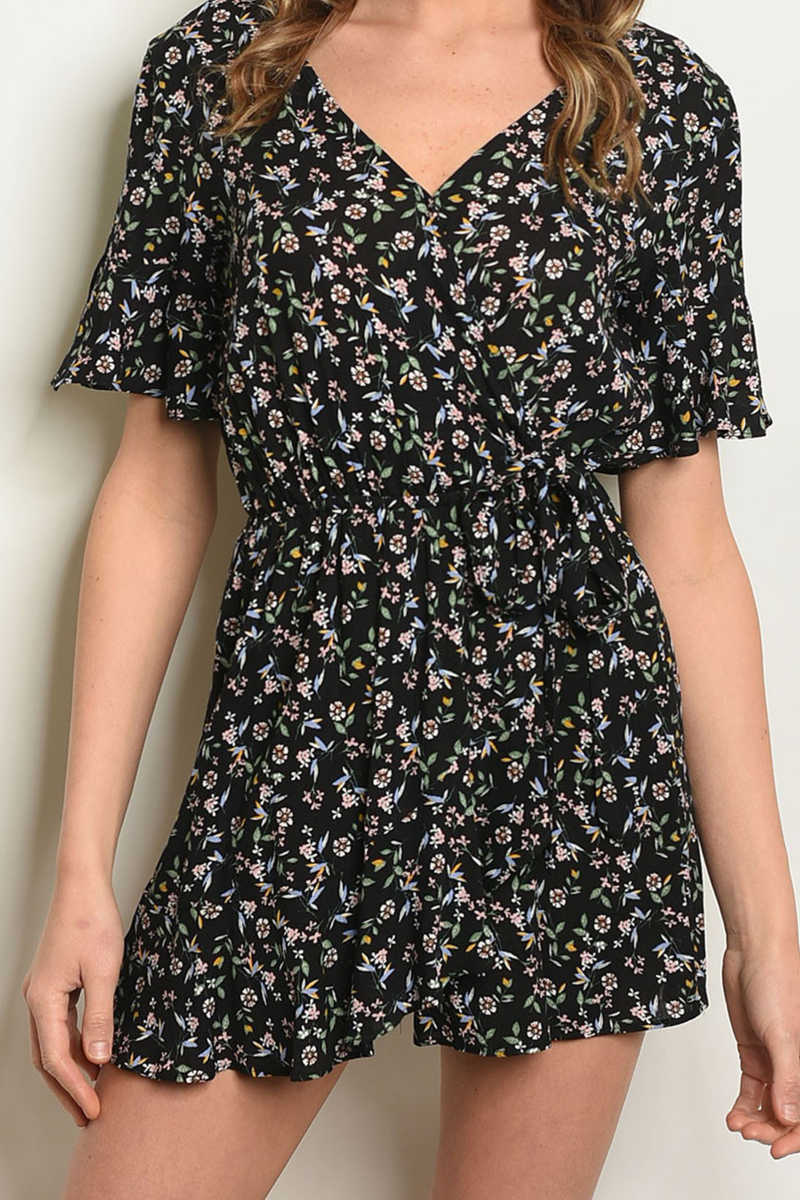Tailored Swift - Floral Romper Black