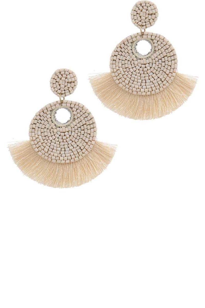Tropical Tornadoes - Beaded Fan Tassel Drop Earrings Ivory