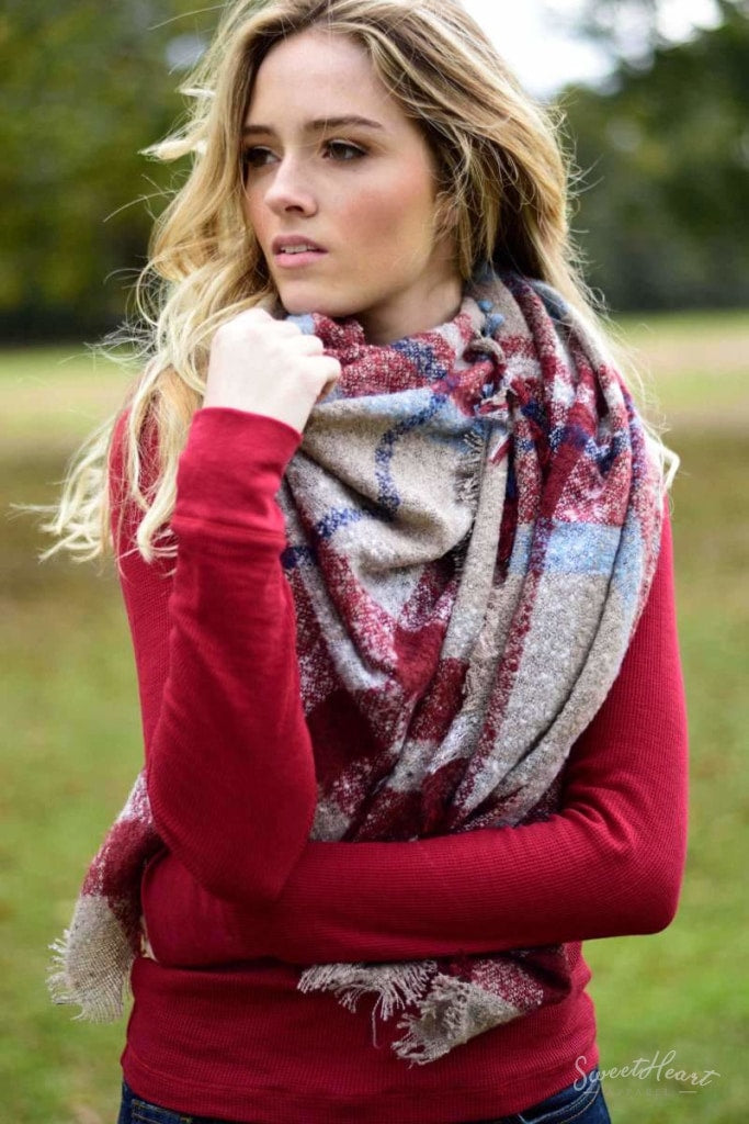 Warm Embrace Blanket Scarf - Slate & Burgundy