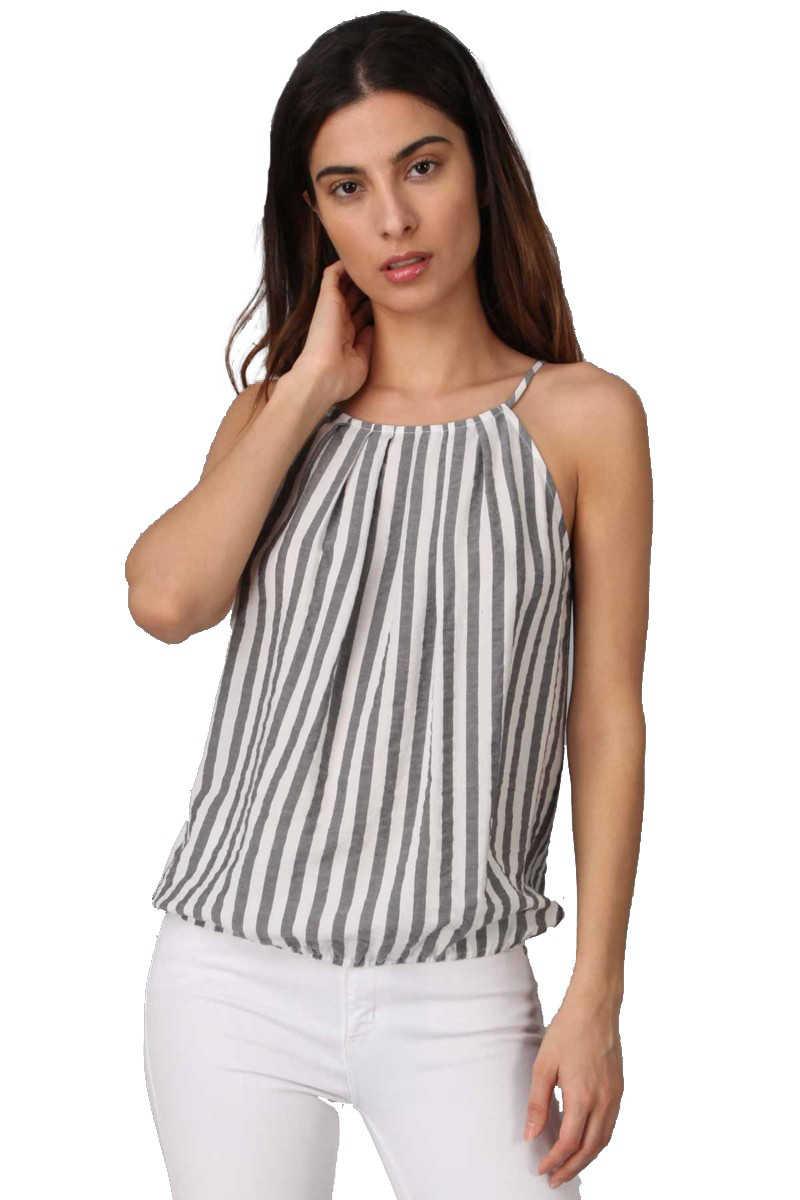 Windsail Kiss - Stripe Top Black