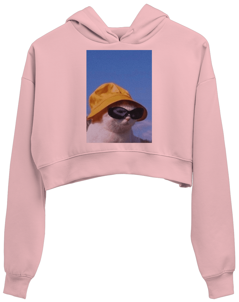 Cat with a Hat Crop Hoodie