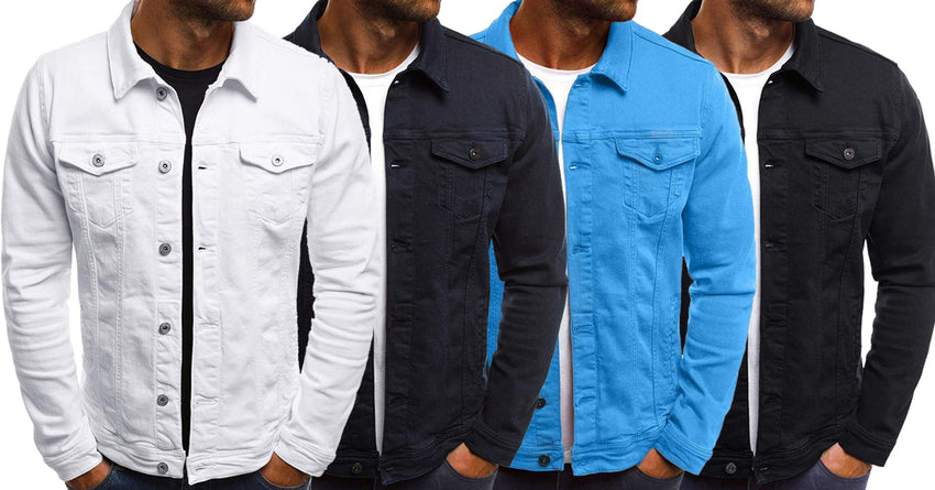 c29dc411df Combo of 4 Branded Stylish Button Solid Color Vintage Denim Shirts for Men
