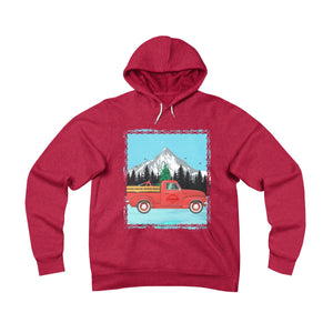 The classic Red Christmas Truck - Unisex Fleece Pullover Hoodie