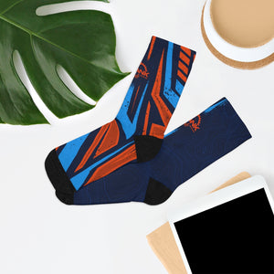 Blue & Orange Racing Stripes & Topographic 3/4 MTB Socks