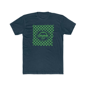"Men's Crank Style Green Checker ""Rad"" Cotton Crew Tee"