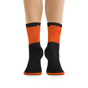 Orange & Black Checker Topo 3/4 MTB Socks