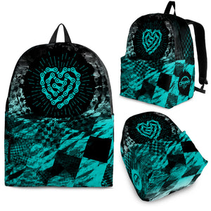 Teal Check Heart Backpack