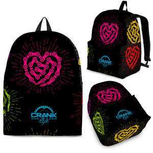 Blk Chain-Link Heart Backpack