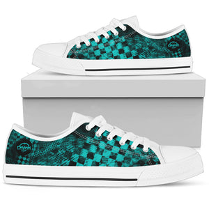 Guys Lo-T Teal Check Shoes