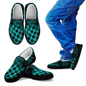 Youth Teal Check Slip-on