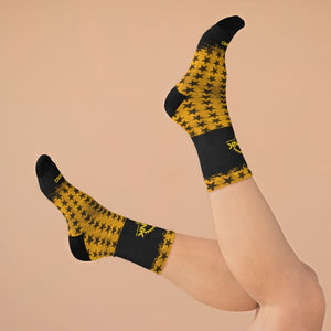 Yelo & Black Stars 3/4 MTB Socks