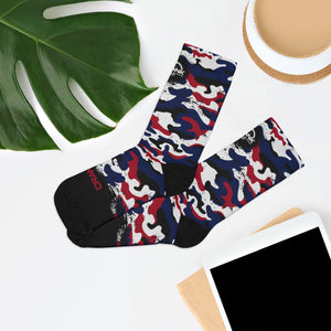 Red white & Blue Camo 3/4 MTB Socks