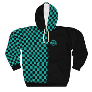 Teal Checkered Pullover Hoodie II