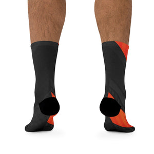 Black & Orange 3/4 MTB Socks