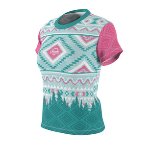 Ladies Pink & Teal Aztec Style MTB Jersey