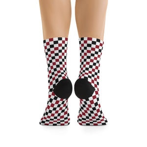 Red Black & White Checkered 3/4 MTB Socks