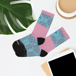 Pink & Aqua Plaid 3/4 MTB Socks