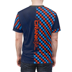 Orange & Blue Checker with Topographic Pattern MTB Jersey