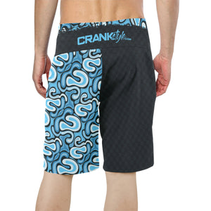 Graffiti Blue Check Board Shorts