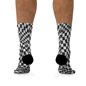 Black & White Checker 3/4 MTB Socks