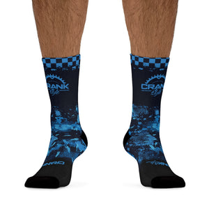 Blue DigiCamo & Checker 3/4 MTB Socks
