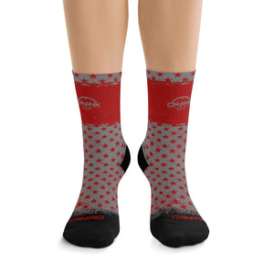 Red & Grey Stars 3/4 MTB Socks