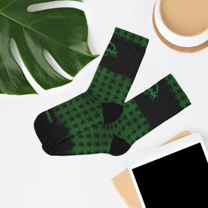 Green & Black Stars 3/4 MTB Socks