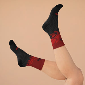 Black & Red Tire Check 3/4 MTB Socks