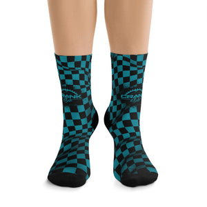 Teal & Black Checker 3/4 MTB Socks