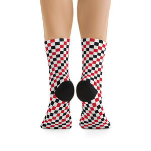 Red, Black & White Checkered 3/4 MTB Socks
