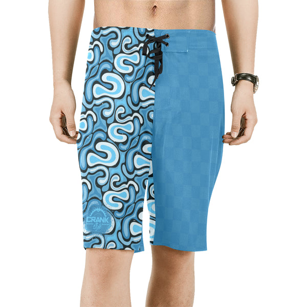 Graffiti Light Blue Check Board Shorts