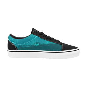 Teal Topo Check Lace-Up Suede/Canvas