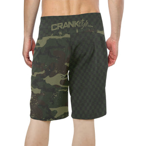 Green Camo Check MTB Boardshorts