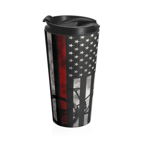 Thin Red Line & Camouflage Mountain Bike Coffee 20oz Tumbler - Stainless Steel Travel Mug
