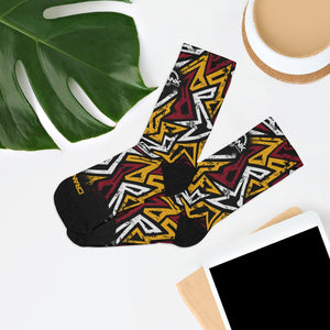 Red Gold White & Black Graffiti 3/4 MTB Socks