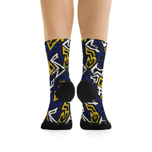 Blue & Gold Graffiti 3/4 MTB Socks
