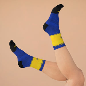 Blue & Gold & Black Topo 3/4 MTB Socks